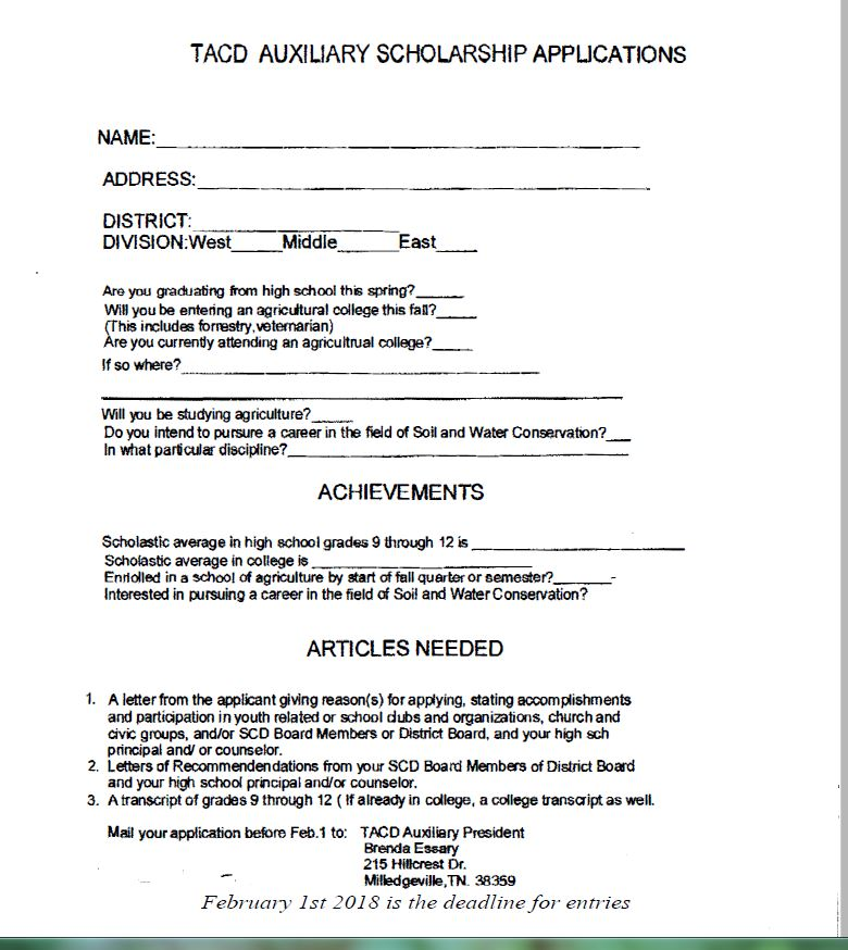 Auxiliary Scholarship Application
